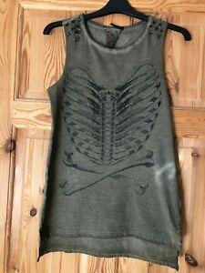 BNWOT ATMOSPHERE Ladies Grey Birds Spike Shoulder Detail Sleeveless Top Size 8