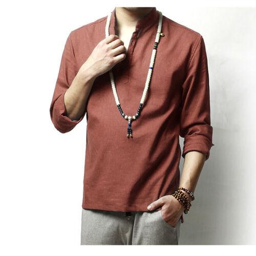 Men Natural Linen Pullover Button Neck Shirt Top T-Shirt Mandarin Collar Chinese