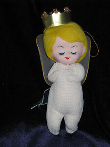 VINTAGE-JAPAN-XMAS-HOLIDAY-ORNAMENT-ANGEL-GIRL-HAND-PAINTED-FACE-NYLON-WIRE