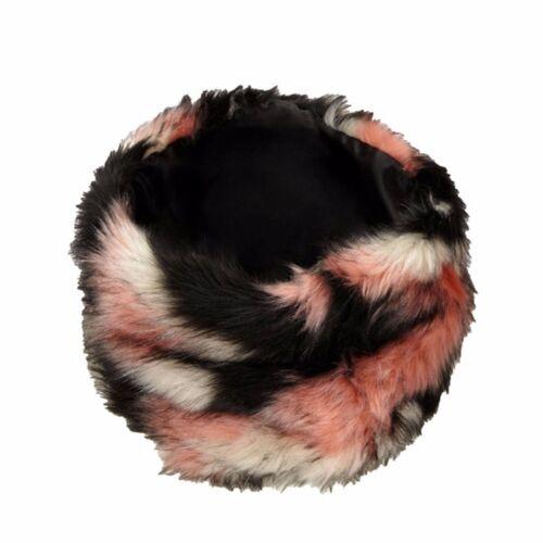 """Crema e Nero-un ottimo accessorio! NUOVO ~ moderno /""""Fun Fur/"""" basso di lenza in Rosa"""
