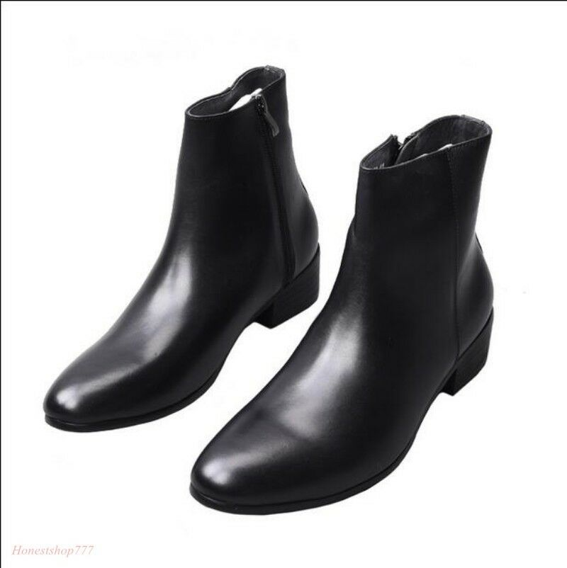 Men Leather Heel Chelsea Ankle Boots Pointy Toe Dress Side Zip shoes New JM98