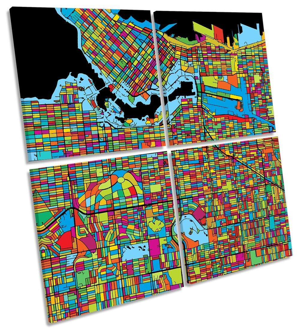 Vancouver City Modern Map Picture MULTI CANVAS WALL ART Square Multi-Colourot