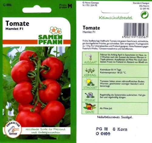resistente Sorte für Freiland und Gewächshaus Tomaten Samen Tomate Hamlet F1