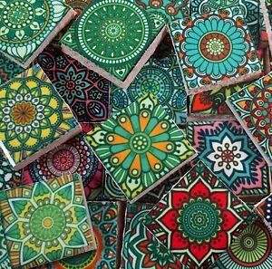 Ceramic Mosaic Tiles - Multi Greens Colors Medallions Moroccan Tile Mosaic Tile