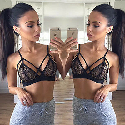 Sexy Womens Floral Sheer Lace Triangle Bralette Underwear Bra Crop Top Lingerie