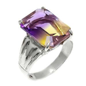 Ametrine-Natural-Gemstone-Handmade-925-Sterling-Silver-Ring-Size-8-5-SR-889