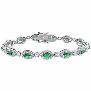 Amour-Green-Cubic-Zirconia-Created-White-Sapphire-Sterling-Silver-Halo-Bracelet