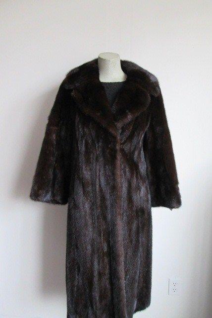 Women's Sz 6 8 S M Natural Dark Brown Mink Fur Coat  SUPERB Condition