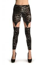 Silver Cobweb On Black Suspender Clip On Leggings (Halloween) (L002323)