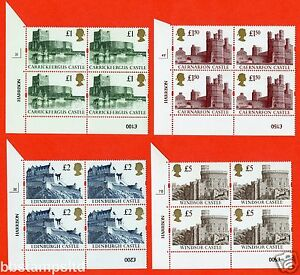 1994 Re - Engraved Castles Set of 4. SG. 1611r - 1613r blocks of 4. UNMOUNTED.