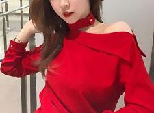 2017 Red Spring Women Korean Sweet Long Sleeve Fashion Chiffon Slim Shirt Tops M