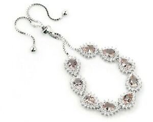 7x5-mm-Pear-Cut-Natural-Morganite-Gemstone-925-Sterling-Silver-Chain-CZ-Bracelet