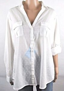 New-Columbia-Performance-FG-White-Swiss-Dot-Large-Camp-Shirt-LS-Cotton-FS