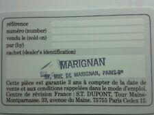 S.T. Dupont Orfevres a Paris Lighter Card Warranty Guarantee CERTIFICATE Blank