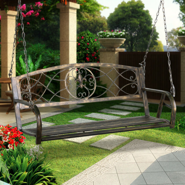 Fleur-de-lis Iron Patio Hanging Porch Swing Chair Bench Seat Garden ...