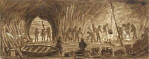 E-Venis-St-Clements-Caves-Hastings-19th-century-sepia-watercolour-painting
