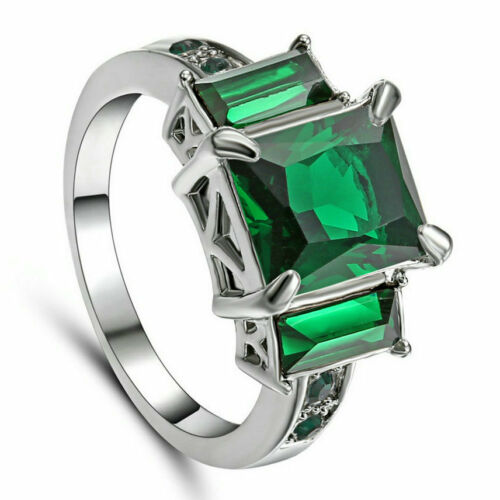 10KT White Gold Filled Princess Cut Vert émeraude Wedding Band Ring Taille 6