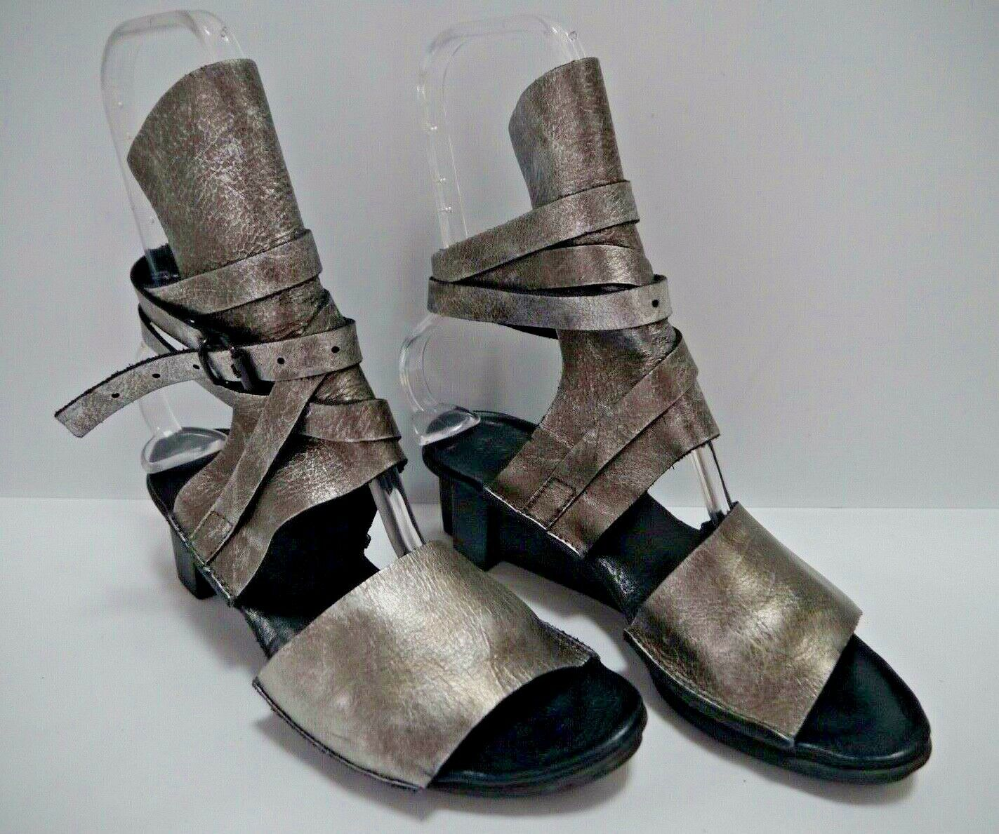 TRIPPEN antiqued pewter leather ankle wrap wedge sandals size 38