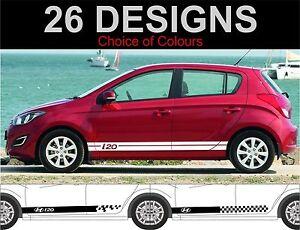 Hyundai-I20-Seitenstreifen-Aufkleber-Sticker-Beidseitig