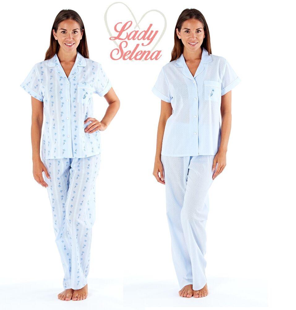 Franc Ladies Elsa Blue Revere Collar Shortsleeve Summer Pyjama Sizes 10-24 (ln0731) Achat SpéCial
