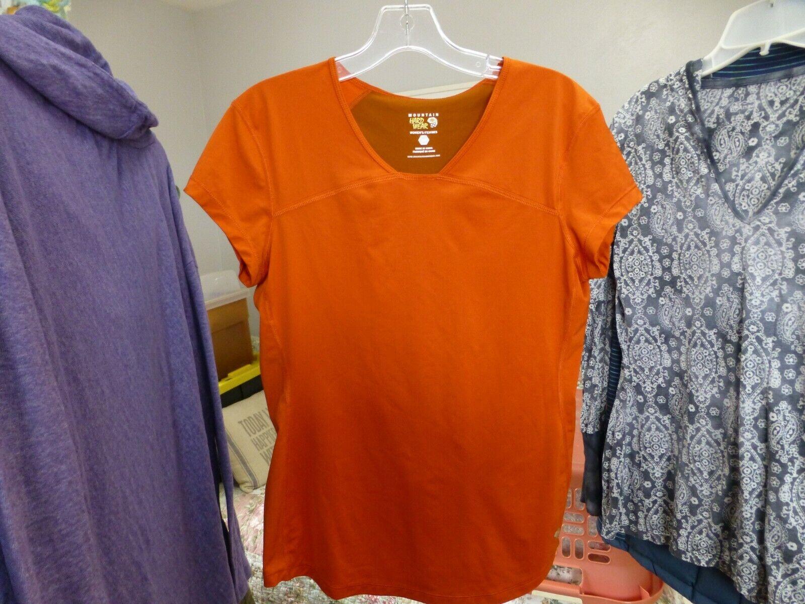 Mountain Hardwear Women's Short Sleeve Shirt Medium Orange Rust Color Block NICE