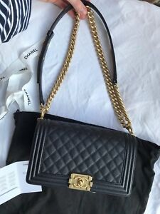 f3c397b8b27b20 Image is loading RARE-Guaranteed-Authentic-Chanel-Boy-Medium-Bag-Gold-