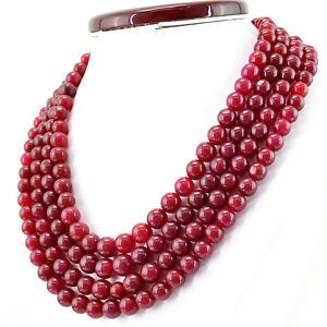 1237.00 Cts Earth Mined Ligne 4 Rouge Rubis Forme Ronde Perles Collier-office Wear-afficher Le Titre D'origine Sensation Confortable