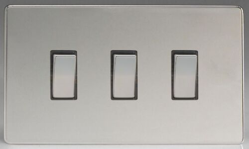 Varilight Screwless 3 Gang 10 A 1 ou 2 Façon Rocker Interrupteur De Lumière-Chrome Poli