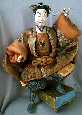 Impressive Large Antique Japan Samurai TAKEDA Ningyo Doll Warrior Silk Brocade