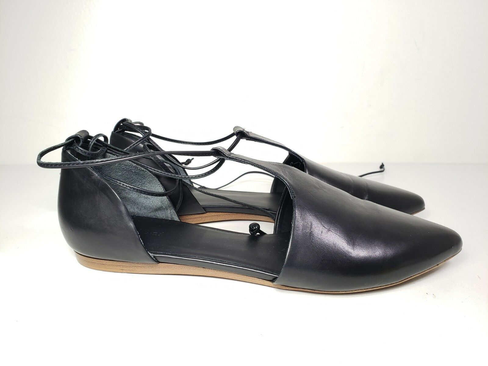 325 size 8.5 Vince Vince Vince Noella D'Orsay Black Leather Ballet Flats Womens shoes ITALY 526738