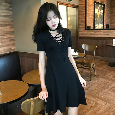 Summer Japanese Vintage Elegant Harajuku Gothic Black Slim Short Sleeve Dress