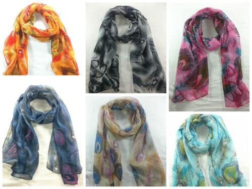 Fashion toute saison casual style Feather Print Soft Long châle écharpe