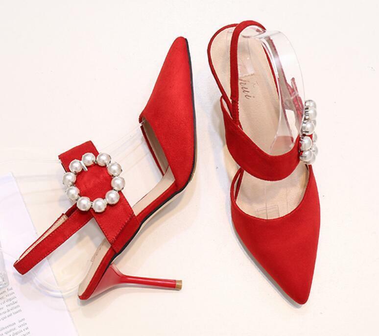High Heel Stilettos Pearls Sandals Slingbacks Sexy Womens Buckle Strap Strap Strap Sandals 1e55bb