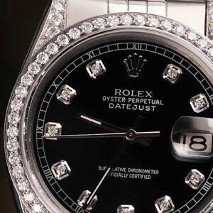 Unisex Nero Rolex 36mm Datejust Giubileo Argento Sterling Braccialetto Personalizzato Diamond Watch