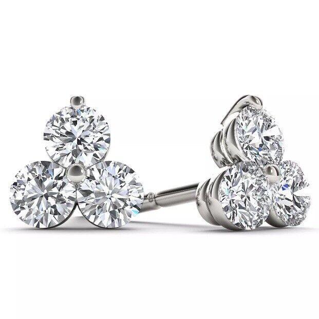 0.60 CARAT H I1 3 STONE DIAMOND STUD EARRINGS SET IN 14K WHITE gold