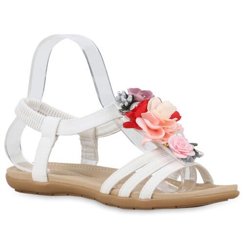 Damen Sandalen Riemchensandalen Blumen Flats Zierperlen 830244 Schuhe