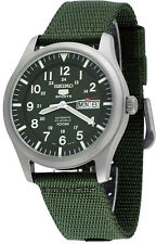 Seiko 5 Sports SNZG09 Men's Green Fabric Band Military Dial Automatic Watch