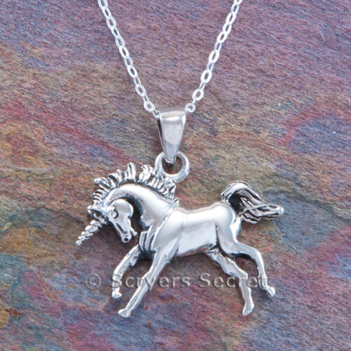 """MYTHICAL UNICORN Horse charm Pendant 925 Sterling Silver prancing 18/"""" necklace"""