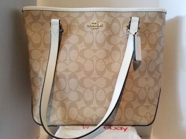 2384f290 Coach F58294 Zip Top Tote in Signature Handbag Purse Light Khaki Chalk