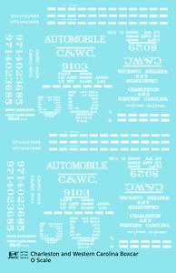 K4-O-Decals-Charleston-and-Western-Carolina-40-Ft-Boxcar-White