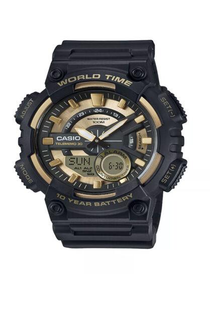 Casio Men's Quartz World Time Gold & Black Resin 50mm Watch AEQ110BW-9AV
