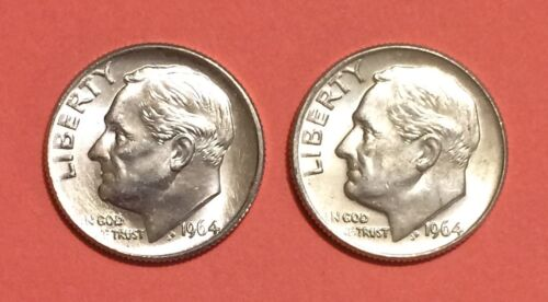 Roosevelt SILVER Dimes 1964 P-D 2 Lot of Two CHOICE BU