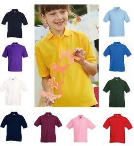 FRUIT-OF-THE-LOOM-Enfants-Enfants-Ecole-Chemise-Polo-avec-col-Aucun-Logo