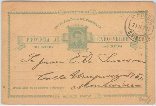 PORTUGAL colonies CABO VERDE POSTAL STATIONERY CARD to MONTEVIDEO Uruguay