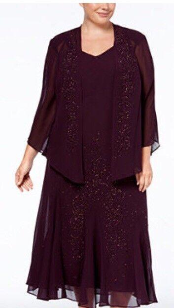 Woman's R & M Richards Eggplant Jeweled Dress & Jacket Größe 20W
