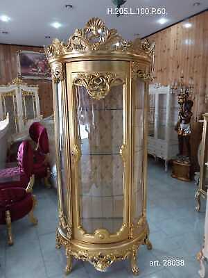Vetrina 1 Anta In Legno Barocco Decoro Oro Stoffa E Cristalli Credenza