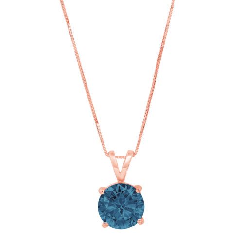 "Details about  /0.50ct Round Cut London Blue Topaz Pendant Necklace 18/"" chain 14k Pink Rose Gold"