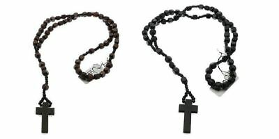 Wooden Rosary Bead Necklace Dark Brown & Black Ladies Men's Cross Crucifix 66cm