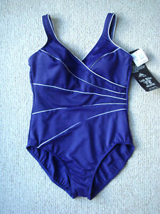 NEW Miraclesuit Women/'s Swimsuit One Piece Horizon Blue White Piping $150.00
