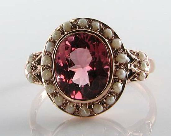 RARE 9CT pink gold 9mm x 7mm AAA PINK TOURMALINE & PEARL VINTAGE INS RING